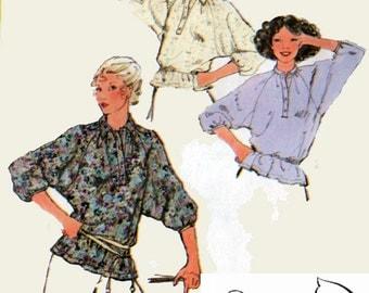 1970s Batwing Blouse Simplicity 8885 Vintage 70s Sewing Pattern Size 16 UNCUT
