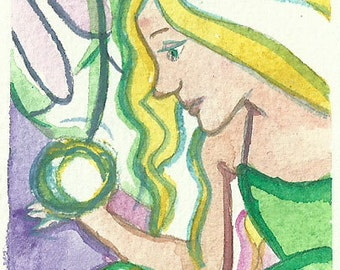 Fairy Painting Original ACEO Painting 2,5 x 3,5 Fairy Painting Fairy Illustration Watercolor Fairy Art Fantasy Fairy tale Magic