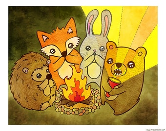 Woodland Campfire Stories  8 x 10 Illustration Print