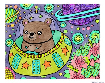 Space Bear 8 x 10 Illustration Print