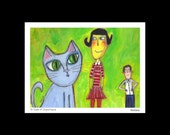 To Scale of Importance - humorous, quirky, cat lover, modern folk art, giclee print by Murphy Adams