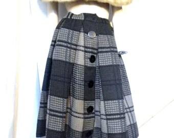 Vintage Skirt 50s Woven Wool Big Box Pleats Size 6 KILLA!
