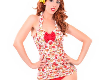 Tea Time Retro Inspired Swimsuit Sizes S, M, L, XL, XXL