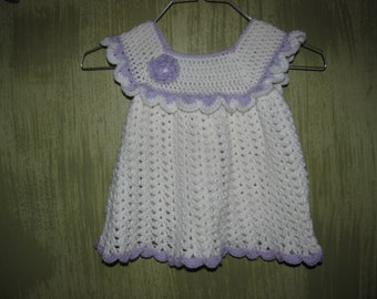 White and purple crochet dress size 12 to 18 months