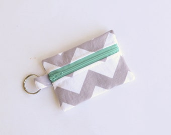 Zippered Pouch, Small Card Case, Ear Bud Case Grey Chevron