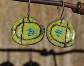 Torch Fired Spring Green Enamel Earrings