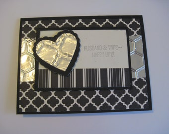 Anniversary Husband and Wife Happy Life  Black and Silver Hand Made Greeting Card