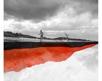 Aout (Landscape Photography - Fine Art Print - Beach - Landscape - Surf - WaterColor paints - Black and white - Orange)