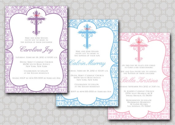 Baptism invitation 5x7 printable digital invite boy girl like this item stopboris Gallery