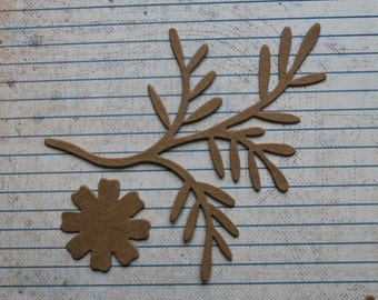 3 Bare chipboard die cuts Branch Bough w/flower Diecuts