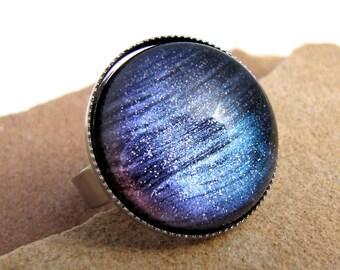Aurora Borealis Dome Cocktail Ring - Adjustable Silver Ring
