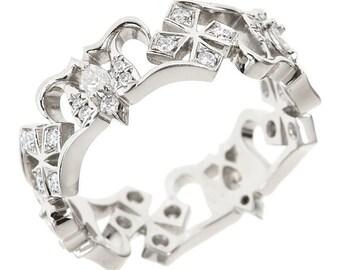 HOPE Swallows and Crosses Platinum & VVS Diamond Eternity Ring Unusual and Original Wedding Ring