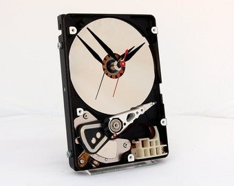 Computer Hard Drive Clock, Geek clock gift, harddrive clock, Computer parts clock, Industrial design gift clock  geek lovers gift, Recycled