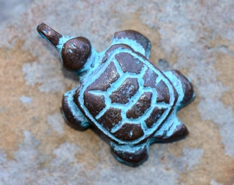 1 Mykonos Greek Small Turtle Pendant - 25mm Green Patina Small Turtle Charm