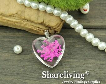 1pcs High Quality Handmade Heart Shape Glass Wire Wrapped Charm / Pendant (Flower) -- HGC601C