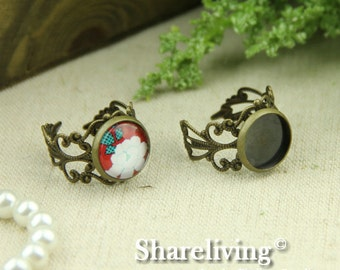 10pcs Antique Bronze Adjustable Filigree Rings With 12mm Cameo Setting RI444