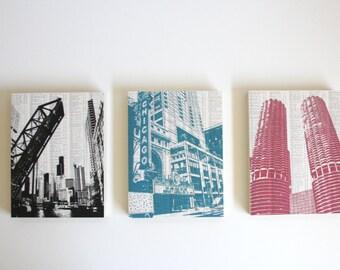 Downtown Chicago Artwork / Chicago Art Prints / Set of 3 Chicago Prints / Large Chicago Artwork / Ready to Hang
