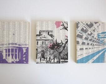 WASHINGTON DC Art / DC Artwork / Set of Prints / Mounted Artwork / Ready to Hang Prints / Washington