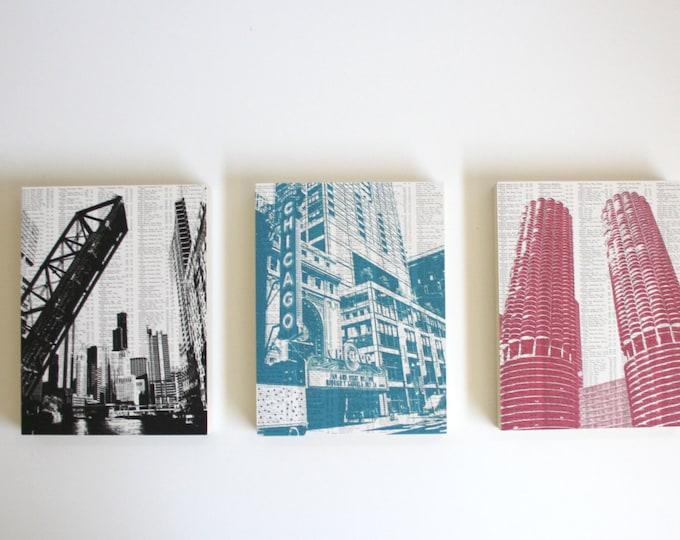 Chicago Mounted Print Set of 3
