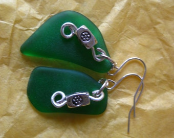 Beachglass inspired earrings dark green antique glass wire wrapped