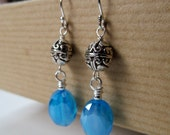 Robin's Egg - Aqua Glass and Bali Beaded Sterling Silver Earrings