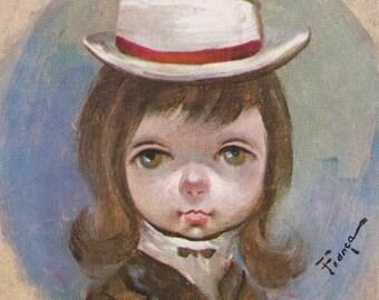 Vintage Ozz Franca Litho Print Big Eyed Girl Color 5x7 Lithograph