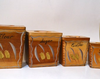 Vintage Dee Bee Company Wood Canisters