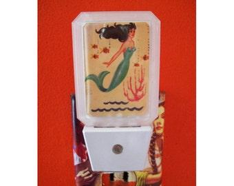mermaid night light retro pin up girl vintage nautical bathroom 1950's kitsch