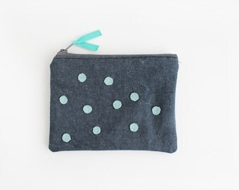 Aqua polka dots on denim small clutch I