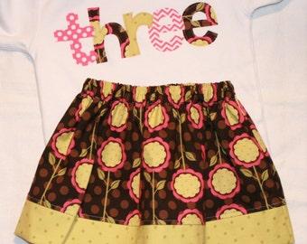 Girls Third Birthday Outfit  THREE shirt and matching mod blooms skirt - Size 4 short sleeve shirt - pink green brown