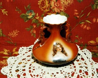 TREASURY ITEM Antique Victorian Portrait Vase with Lovely Long-Haired Lady of Austria