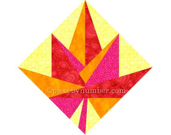Maple Leaf quilt block, paper pieced quilt patterns, instant download PDF pattern, Canadian maple leaf quilt pattern, Canada maple leaf