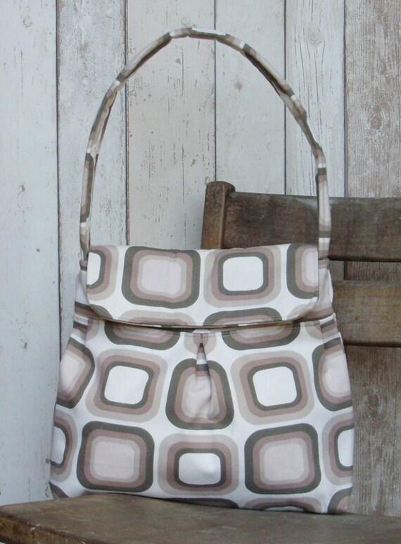 Brown & Cream Geometric Shoulder Bag Purse Handbag - On Sale
