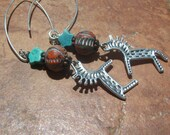 SALE Dancing Horses Colorful Tribal Talisman with Turquoise Star Earrings Sterling Silver