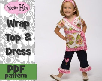Wrap Top, Shirt Twirl Dress for Baby Girl  Tween  PDF Pattern