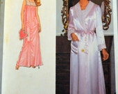 Vintage 70's Sewing Pattern Simplicity 8764 Misses' Nightgown and Robe bust 29 to 30 Uncut Complete FF