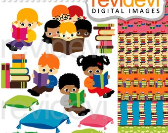 Kids reading clipart / library books / Easy Reading.. Cliparts and Digital Papers