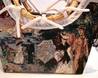 Nautical Handbag , Nautical Purse ,  Victorian Handbag , Tapestry Handbag , Nautical Bag , Victorian Purse , Tapestry Tote , Summer Handbag