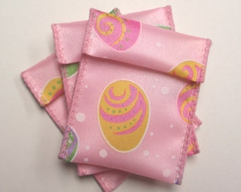 Jewelry Bead Pouches - 10 Pink Easter Egg - Ribbon