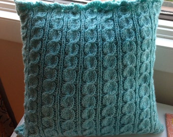 Hand Knit Wool and Flannel Pillow Covers