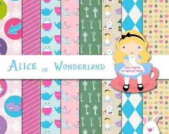 Disney Alice in Wonderland Inspired 12x12 Digital Paper Backgrounds for Digital Scrapbooking, Party Supplies, etc -INSTANT DOWNLOAD -