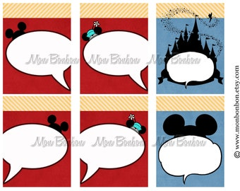 6 Digital Disney Journal Cards - Perfect for Disney Project Life Inserts - DIY Printable - INSTANT DOWNLOAD