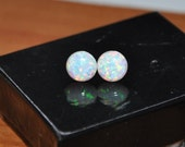 Australian Opal earrings, stud earrings, sterling silver, Women jewelry, 8mm stone, Opal jewelry