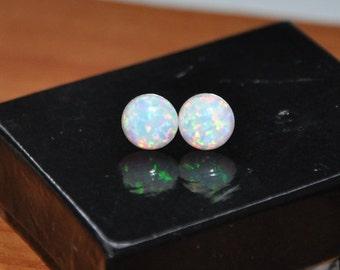 Opal Earrings,  Stud Earrings, Sterling Silver,  Opal Jewelry,  8mm Stone