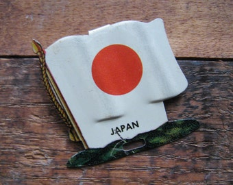 Vintage Japan Country Flag Metal Clip - Money Clip, Shirt Clip, Sweater Clip - Japan, Japanese