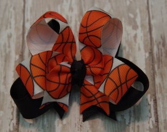 "Boutique Basketball Layered 4"" Hair Bow Can Be Customized With Team Colors"