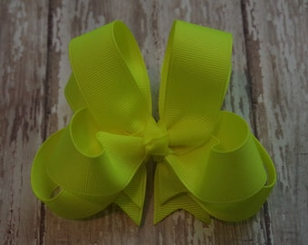 "Girls Hair Bow Neon Yellow 4"" Boutique Layered Hairbow Neon Yellow Hair Bow"