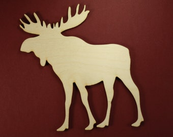 Moose Shape Unfinished Wood Laser Cut Shapes Crafts Variety of Sizes