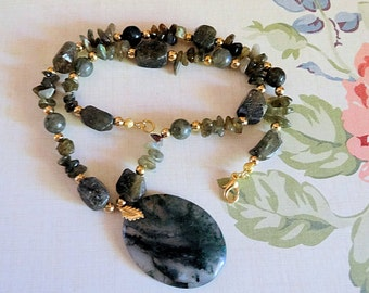 Labradorite and Moss Agate Necklace and Earring Set, Ladies Jewelry, Agate Pendant, 17 inch Necklace