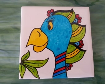 Mosaic Tiles One of a kind SILLY PARROT BIRD #11 Ceramic Mosaic Tile
